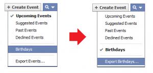экспорт дней рождении из facebook